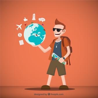 Ilustración del viajero con un mapa del mundo