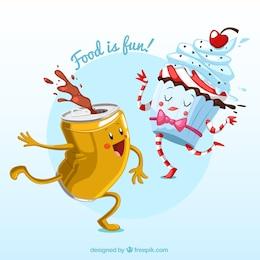Ilustración divertida comida