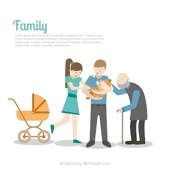 Ilustración familiar plantilla