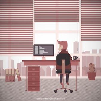 Ilustración lugar de trabajo vintage
