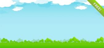 Ilustración Naturaleza libre con el cielo, nubes y los árboles