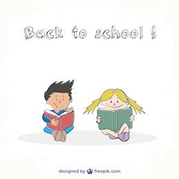 Ilustración niños con libros