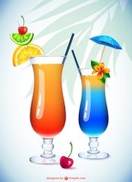 Ilustración vasos de cóctel