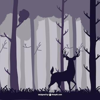 Ilustración vectorial ciervo en el bosque