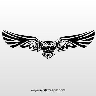 Ilustración vectorial de búho tribal