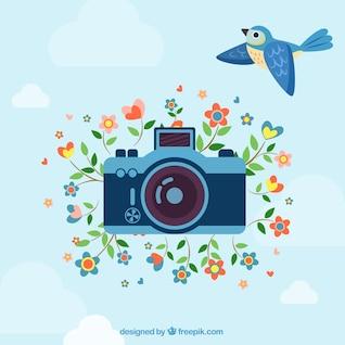 Ilustración vectorial de cámara de fotos