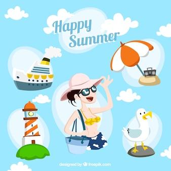 Ilustración verano feliz