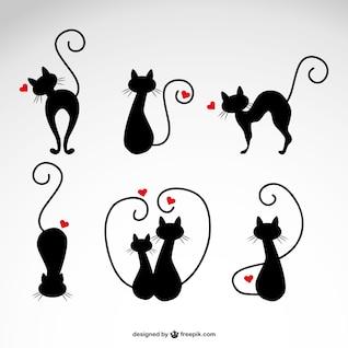 Ilustraciones de gatos negros con corazones