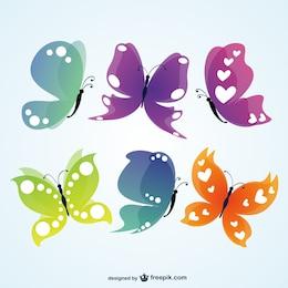 Ilustraciones de mariposas de colores