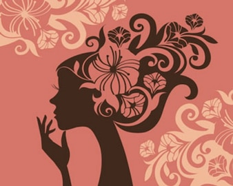 ilustraciones de stock chica-vector silueta-
