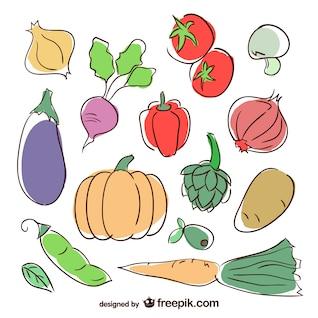 Ilustraciones de verduras de colores
