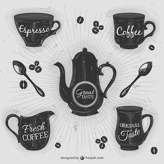 ilustraciones retro de café