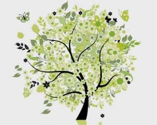 ilustraciones vectoriales de árboles mariposas