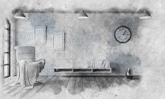 Imagen esbozada de una silla en un apartamento moderno