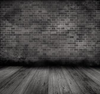 Imagen grunge de una pared vieja de ladrillo y un suelo de madera