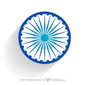 Rueda bandera india en color azul