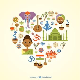Vector de corazón temático de India