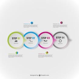 Infografía abstracta con etiquetas redondas