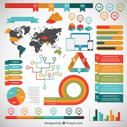 Infografía colorida con mapa del mundo