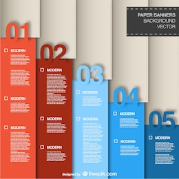 Infografía con banners de papel