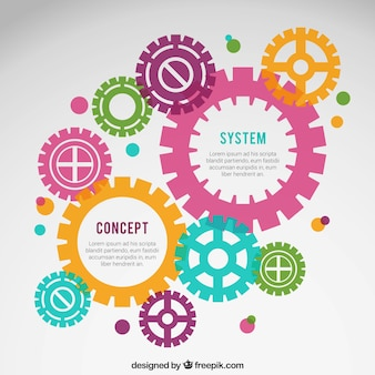 Infografía con engranajes de colores