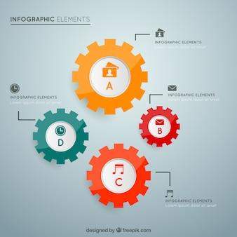 infografía con engranajes