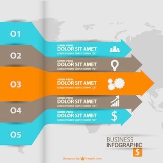 Infografía con etiquetas con forma de flechas