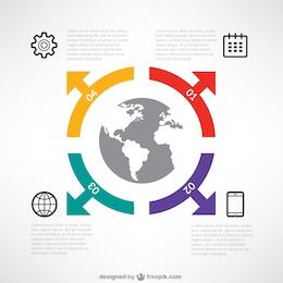 Infografía con globo del mundo