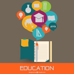 Infografía con iconos de educación