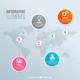Infografía con mapa del mundo