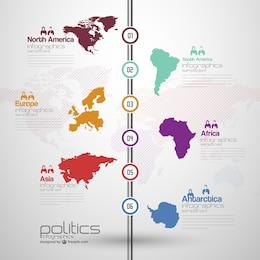 Infografía con mapas del mundo