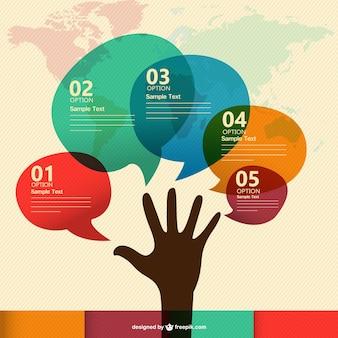Infografía de colores con mano