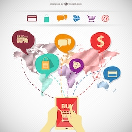 Infografía de compras en línea con mapa del mundo