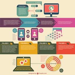 Infografía de comunicación estilo retro