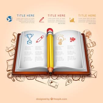 Infografía de educación con un libro abierto