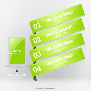 Infografía de etiquetas verdes para smartphone