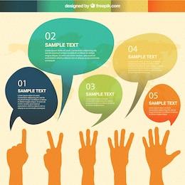 Infografía de globos de dialogo de acuarela