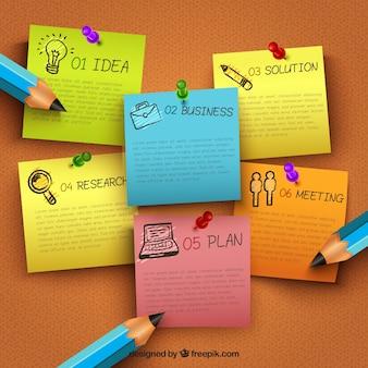 Infografía de negocios con notas clavadas