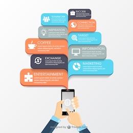 Infografía de negocios con un teléfono móvil
