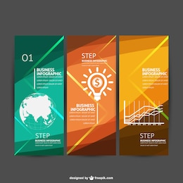 Infografía de negocios en tres pasos