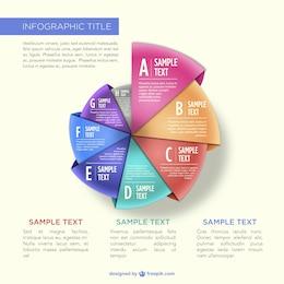 Infografía estilo origami redonda