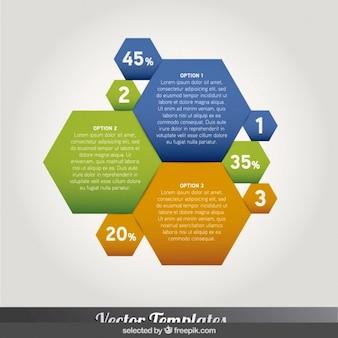 infografía hexagonal de color