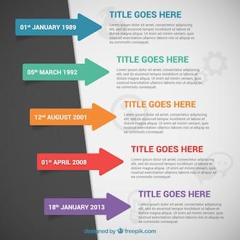 Infografía línea de tiempo con flechas