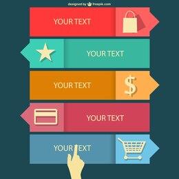 Infografía plana de compras en línea