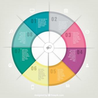 Infografía redonda colorida