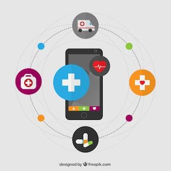 Infografía Salud con un teléfono móvil