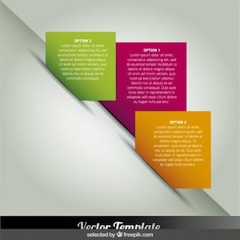 Infografías pasos cuadrado en diagonal