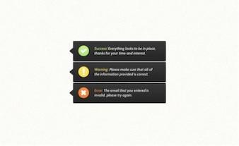 información sobre herramientas de notificación con los iconos personalizados conjunto de psd