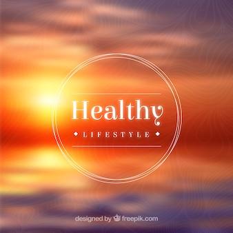 Insignia de vida sana en el fondo la puesta del sol
