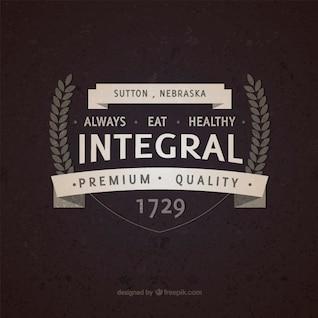 Insignia vintage alimentos integrales